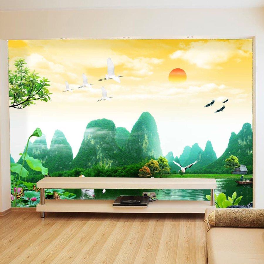 Tranh dán tường quang cảnh núi rừng 2