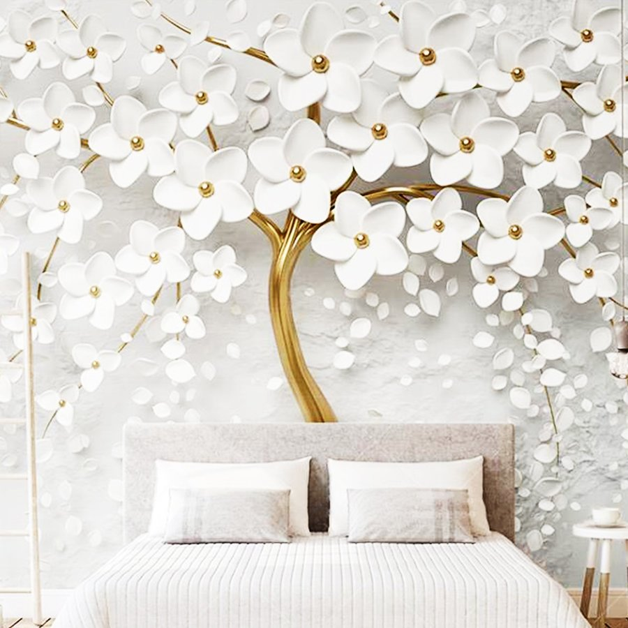 Tranh dán tường 3d hoa trắng nhụy vàng