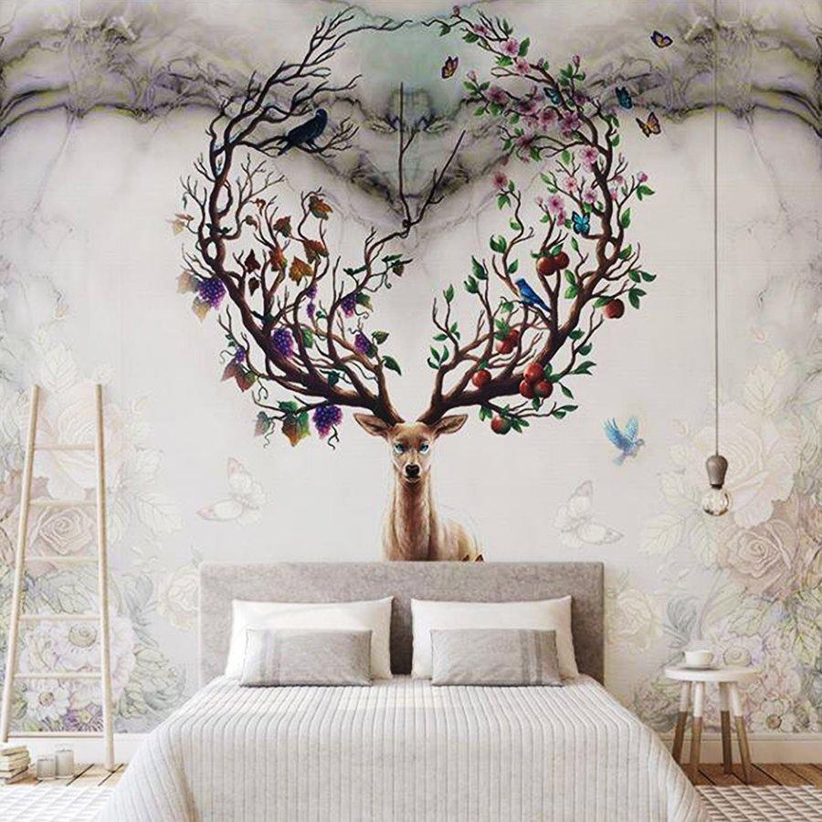Tranh dán tường nai và muôn cây