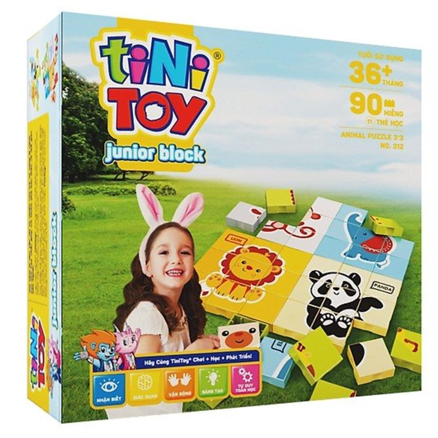 Đồ Chơi Lắp Ráp Junior Block Animal Puzzle3*3 (TN)