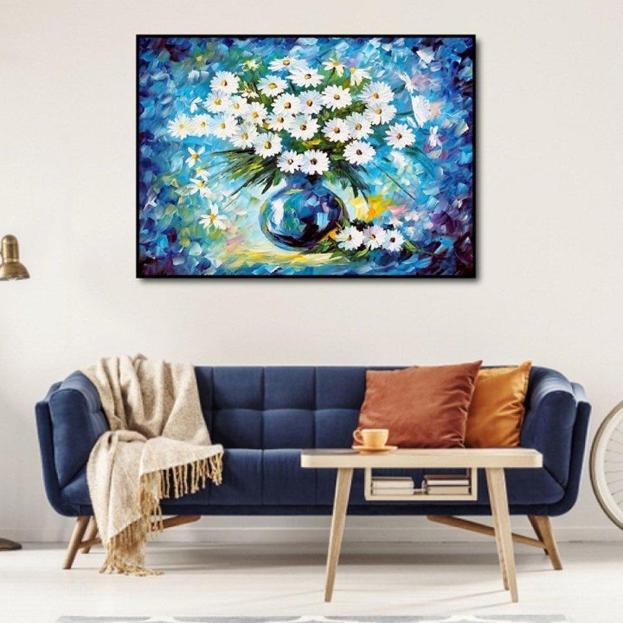 Tranh treo tường nghệ thuật hoa cúc họa mi