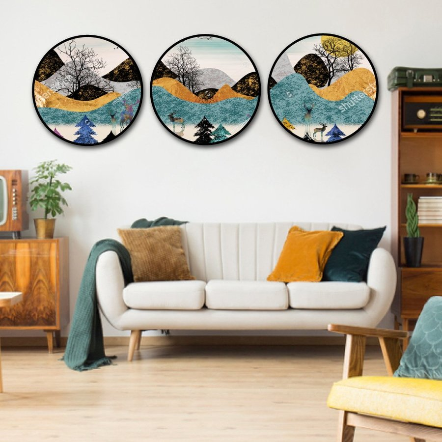 Tranh treo tường nghệ thuật ngọn đồi sắc màu