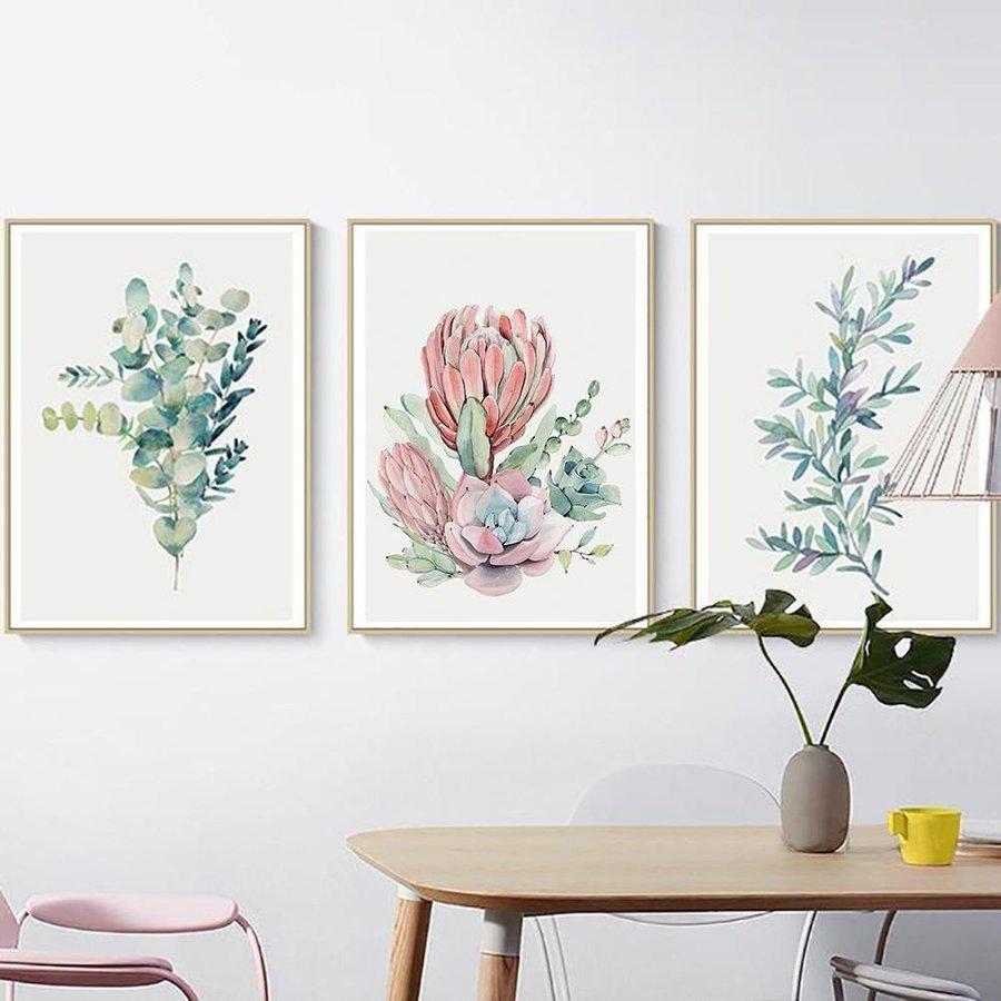 Bộ 3 tranh treo tường hoa xương rồng hiện đại