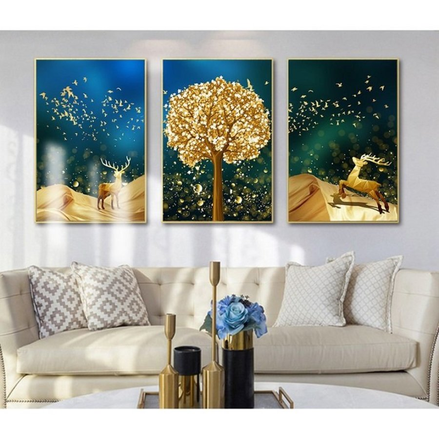 Tranh treo tường 3D nai và cây vàng tráng lệ