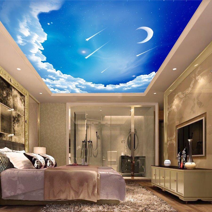 Tranh dán tường trần nhà bầu trời 3D FQ437