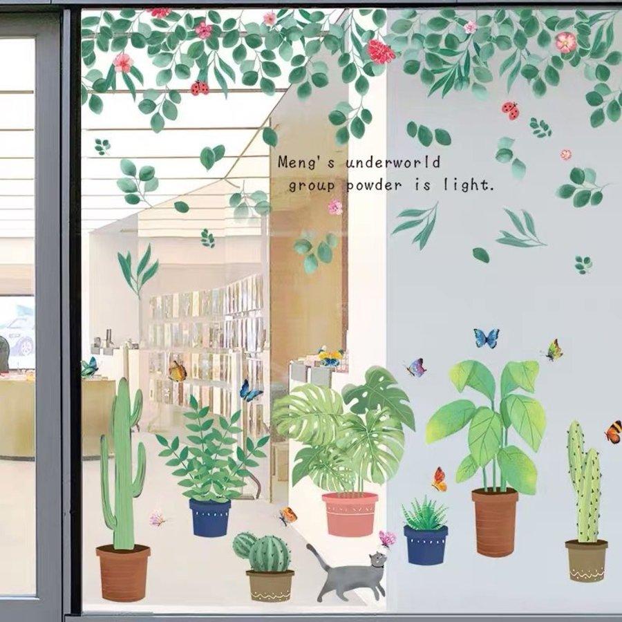 Decal dán tường các chậu cây và giàn lá xanh 2