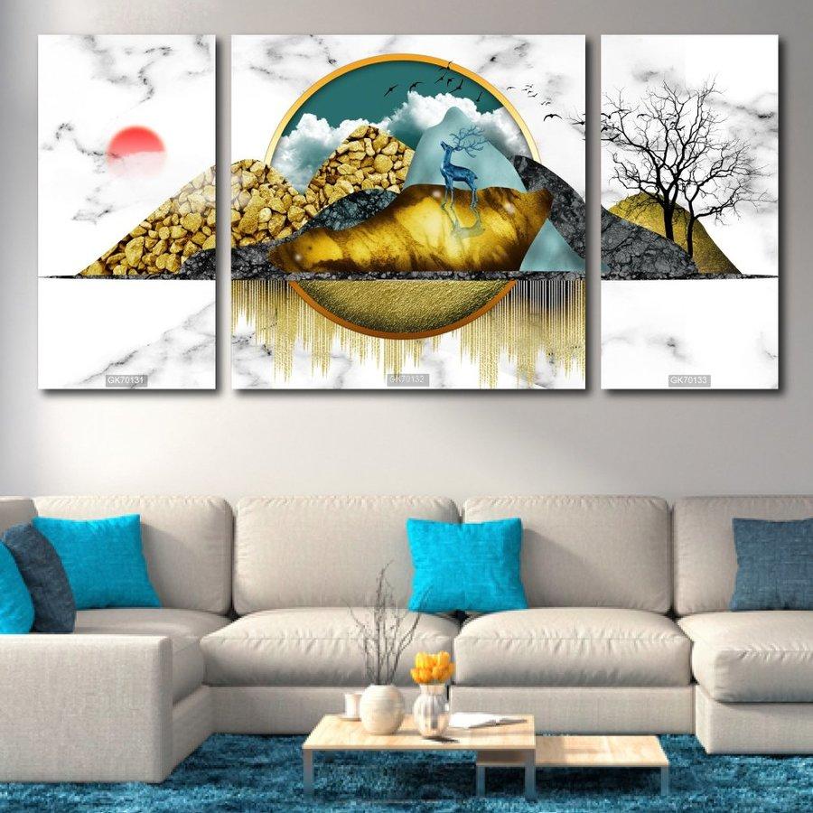 Tranh Treo Tường 3D Hươu Vàng Nghệ Thuật