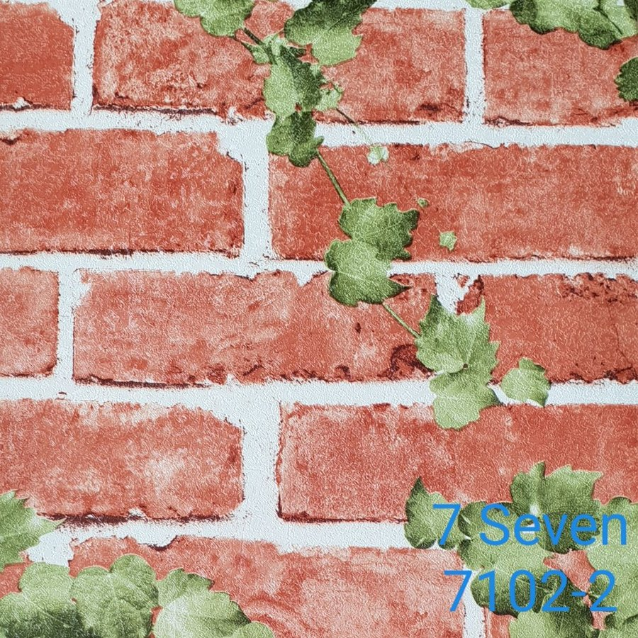 Map giấy dán tường texture giả gạch đỏ 7 Seven 7102-2