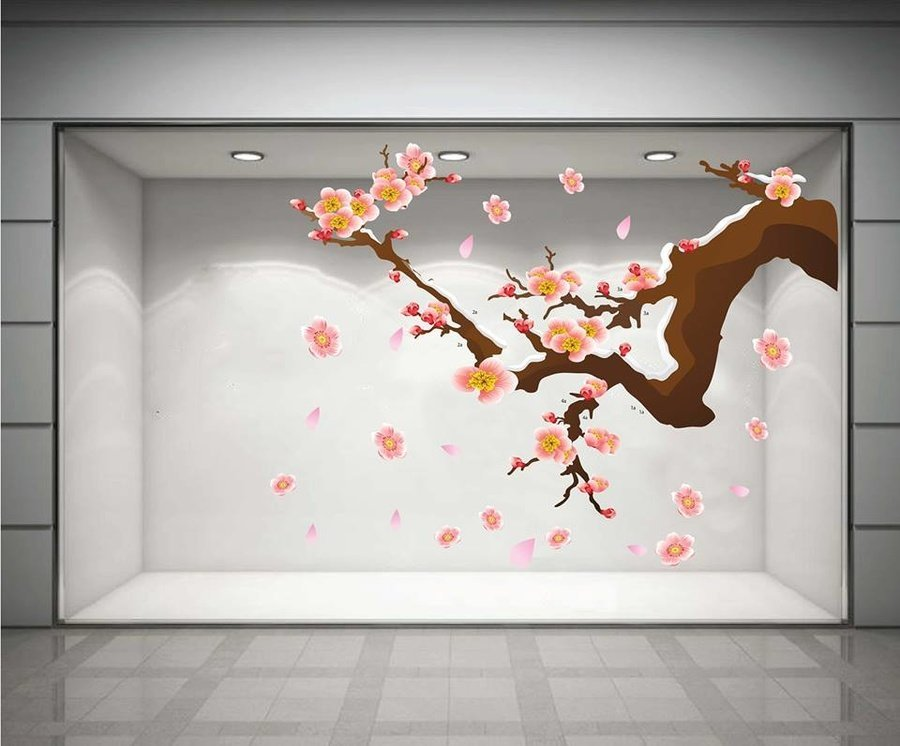 Decal cành đào hồng may mắn 2 (HN)