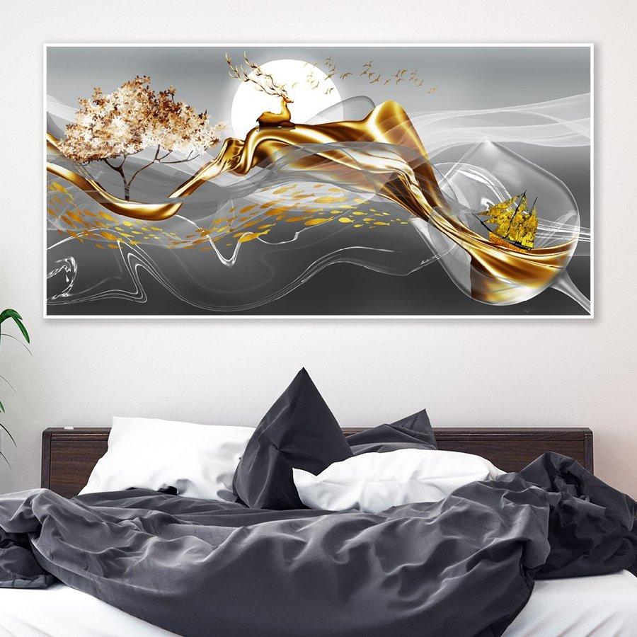 Tranh nghệ thuật trừu tượng hươu vàng dưới ánh trăng 3