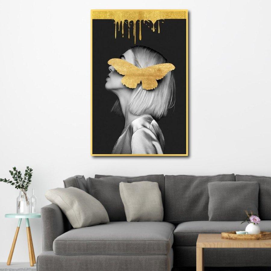 Tranh nghệ thuật trừu tượng cô gái và bướm vàng 2
