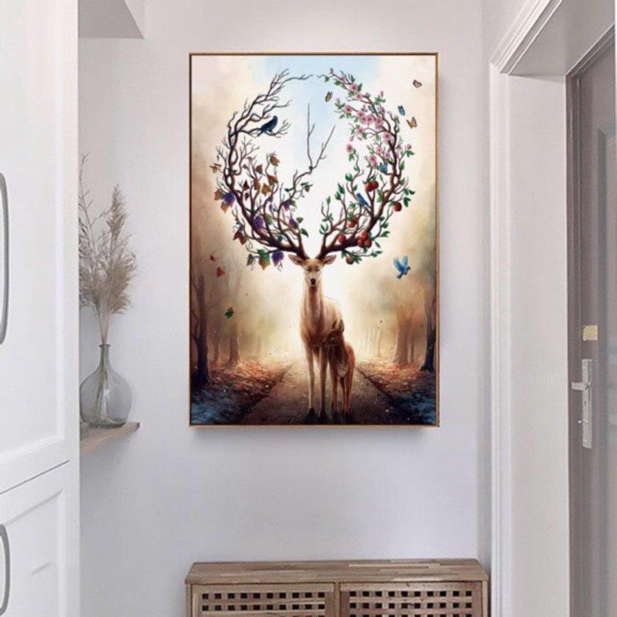 Tranh treo tường nghệ thuật gia đình hươu