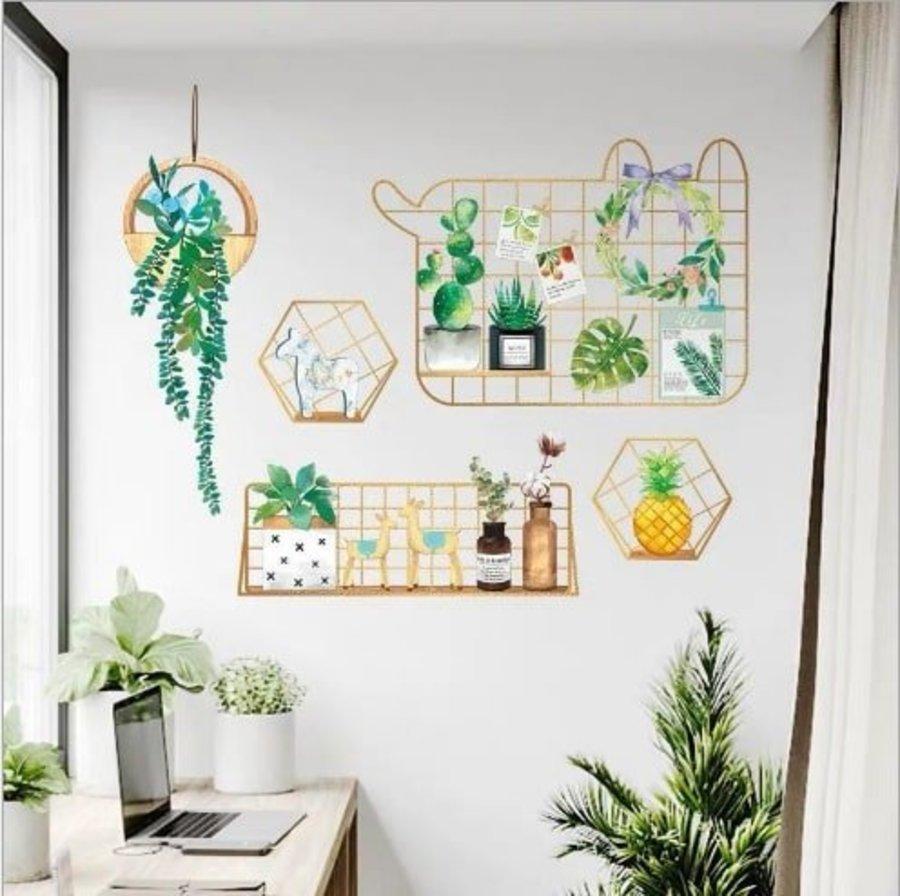 Decal dán tường chậu cây xanh