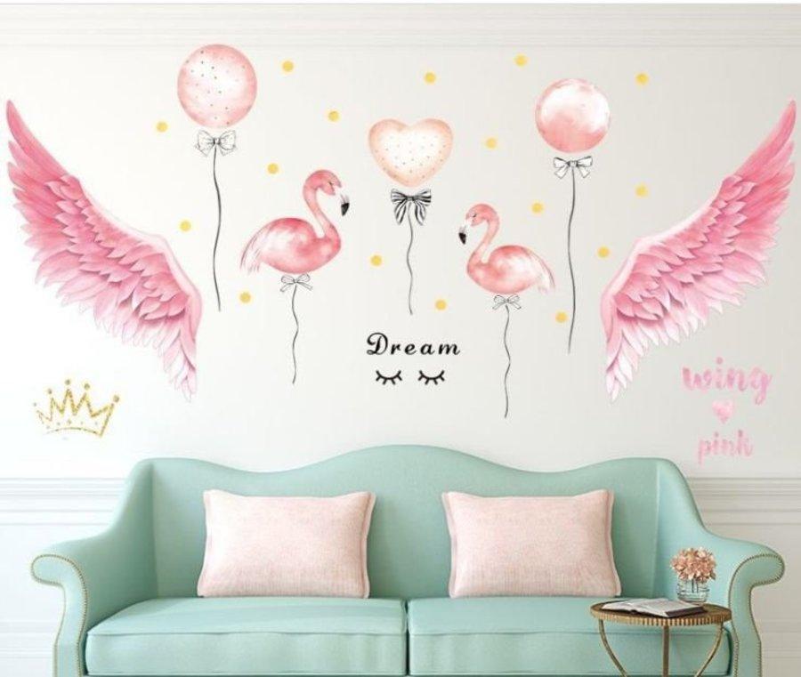 Decal dán tường hồng hạc và đôi cánh