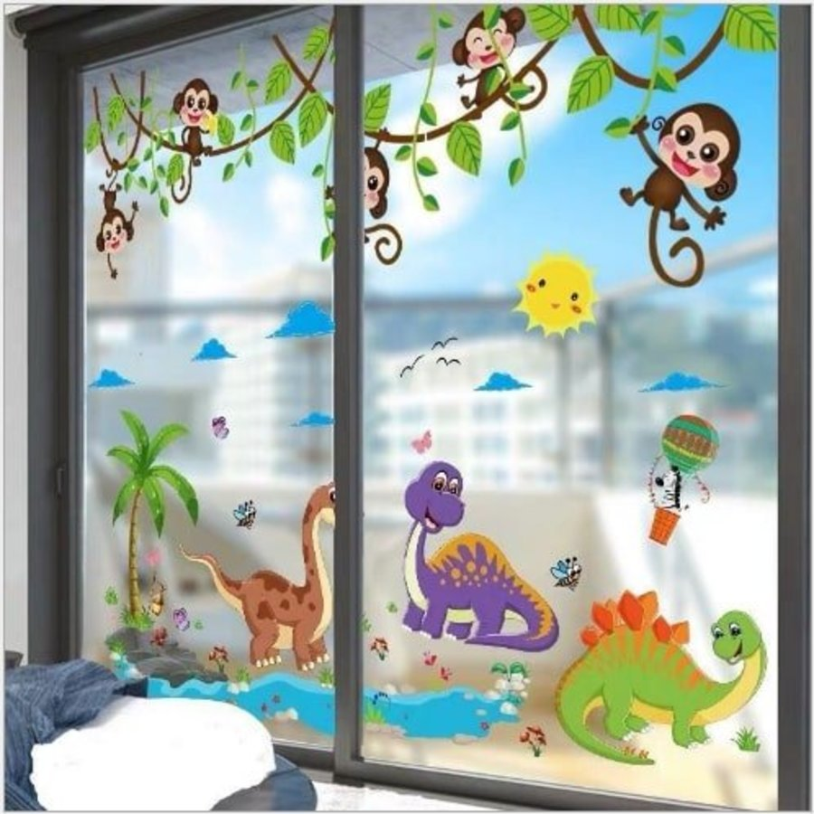 Combo Decal dán tường vườn thú khủng long và khỉ
