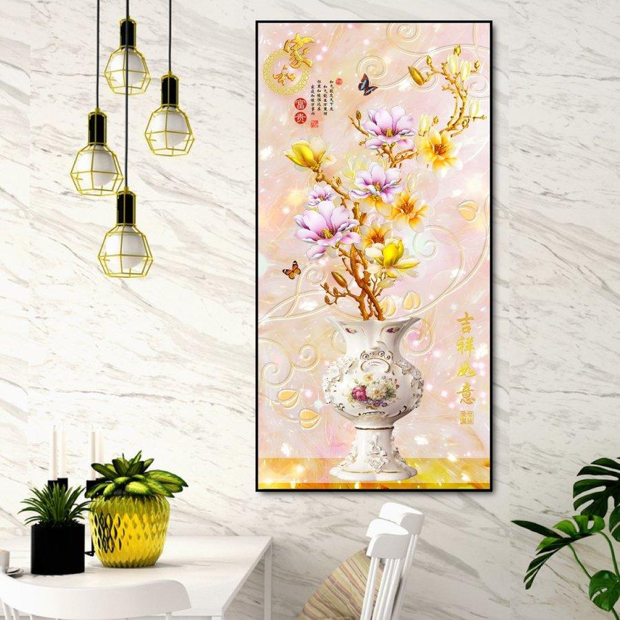 Tranh treo tường 3D chậu hoa sứ vàng