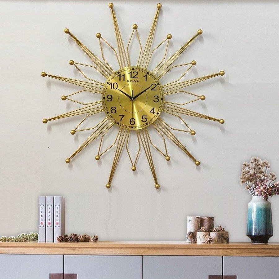 Đồng hồ treo tường đính đá ngôi sao vàng