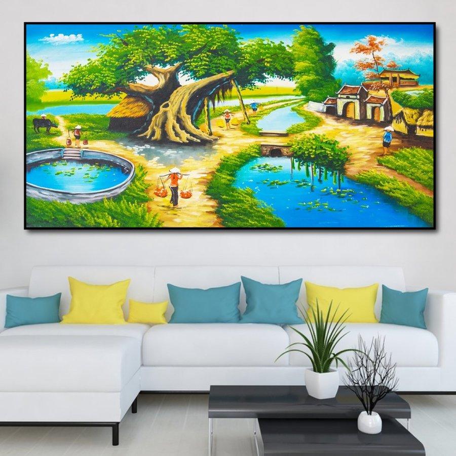Tranh treo tường khung cảnh làng quê