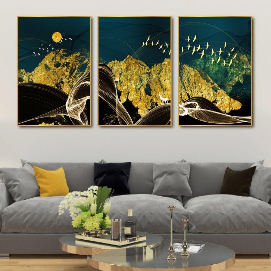 Tranh treo tường cảnh rừng đêm trừu tượng