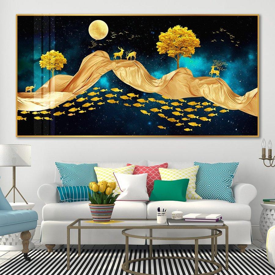 Tranh Treo Tường Nai Vàng Dưới Trời Đêm 4