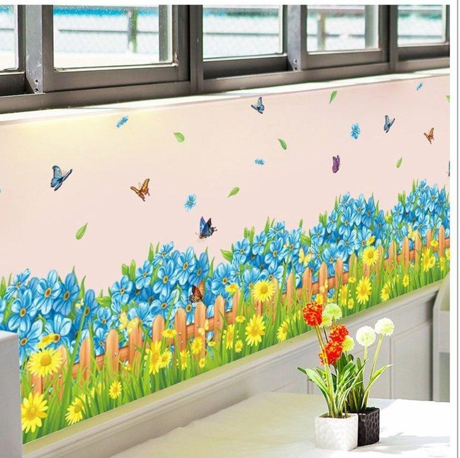 Decal dán tường hoa xanh chen sắc vàng
