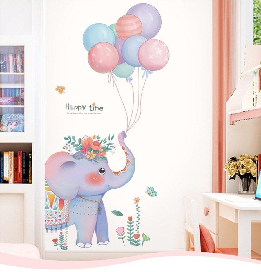 Decal dán tường voi con và bóng bay