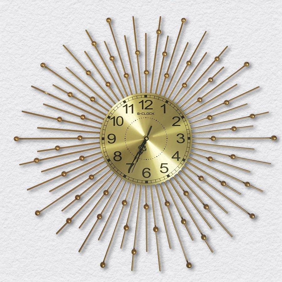 Đồng hồ treo tường đính đá mặt trời vàng 3