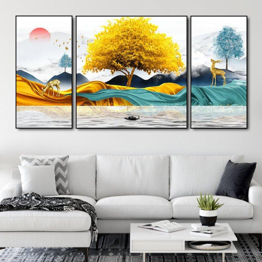 Tranh treo tường rừng vàng và biển bạc