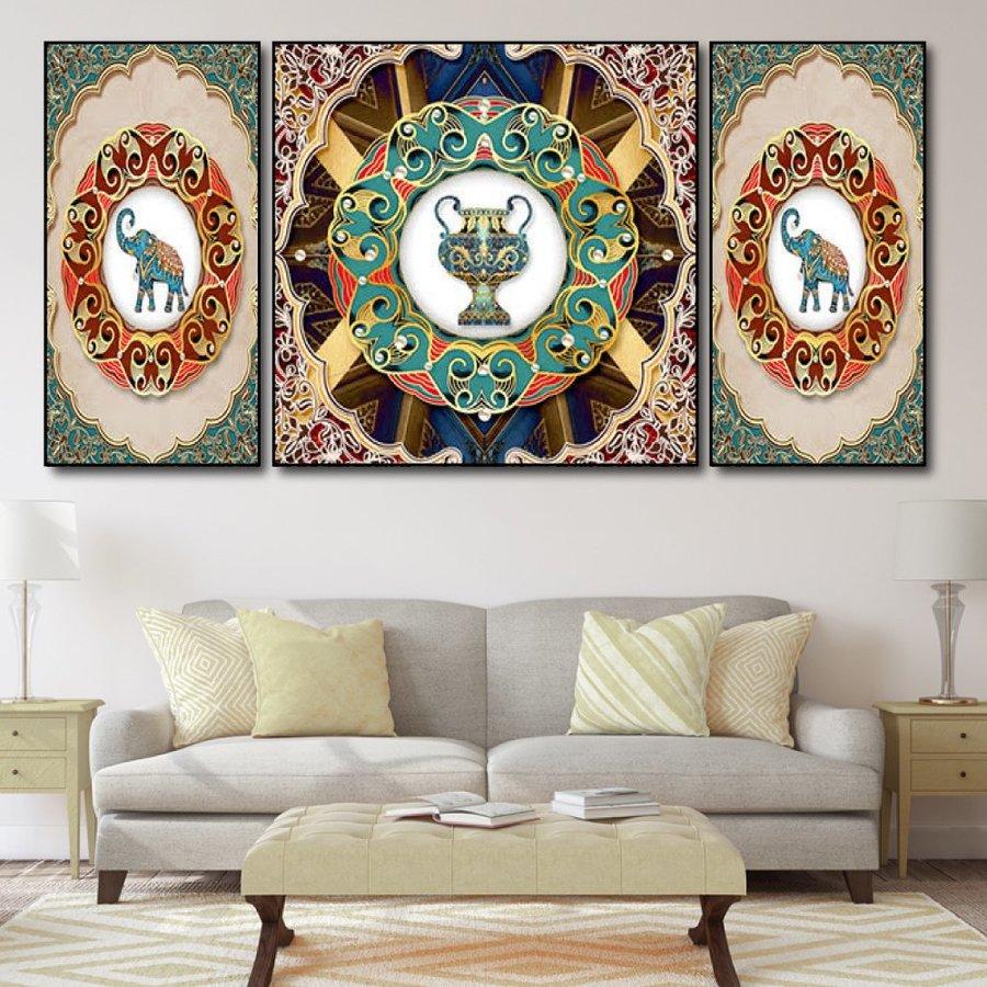 Tranh treo tường voi và hoa văn