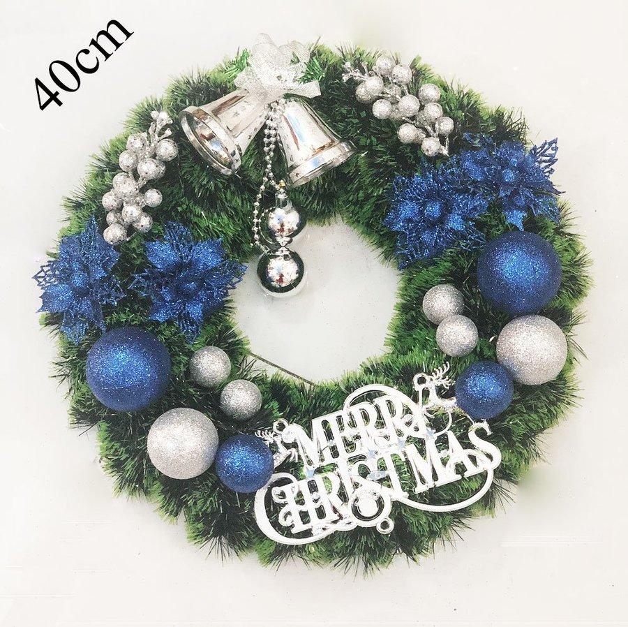 Vòng nguyệt quế trang trí noel merry christmas và chuông bạc