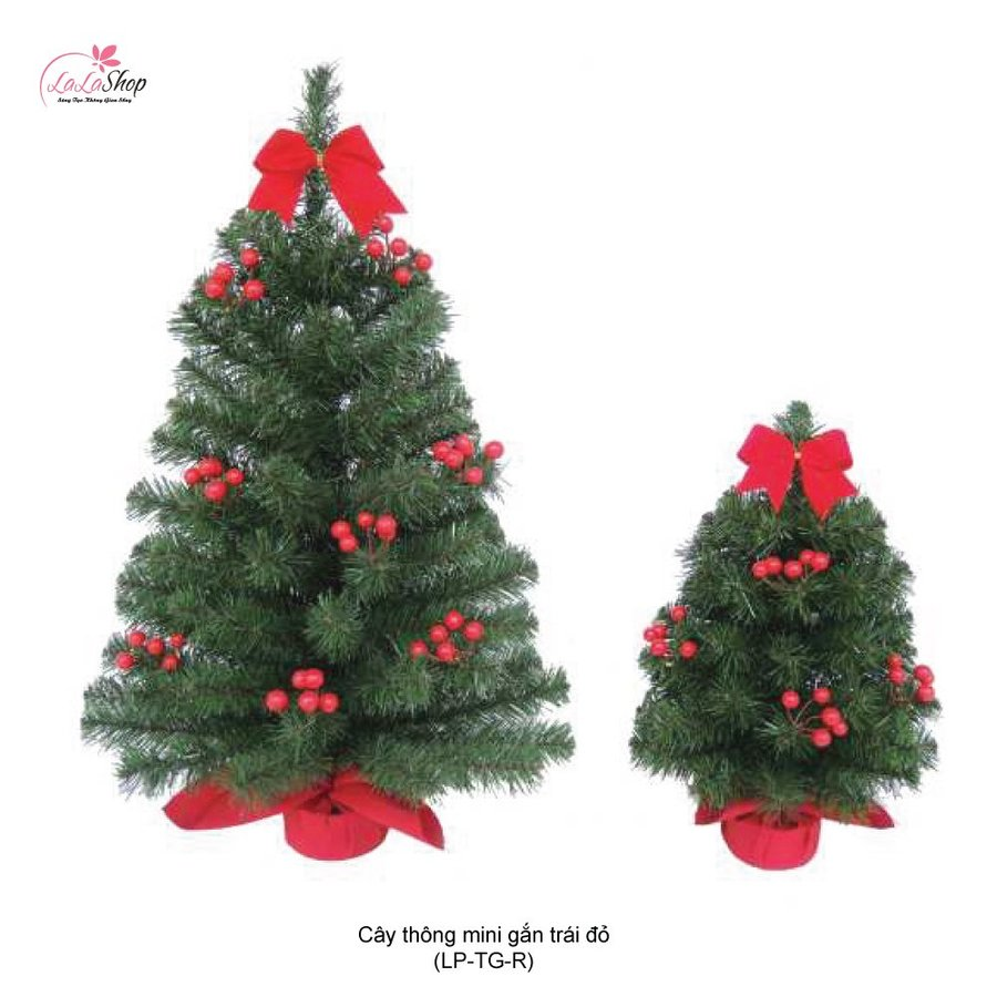Cây Thông Noel Mini Gắn Trái Đỏ 60cm