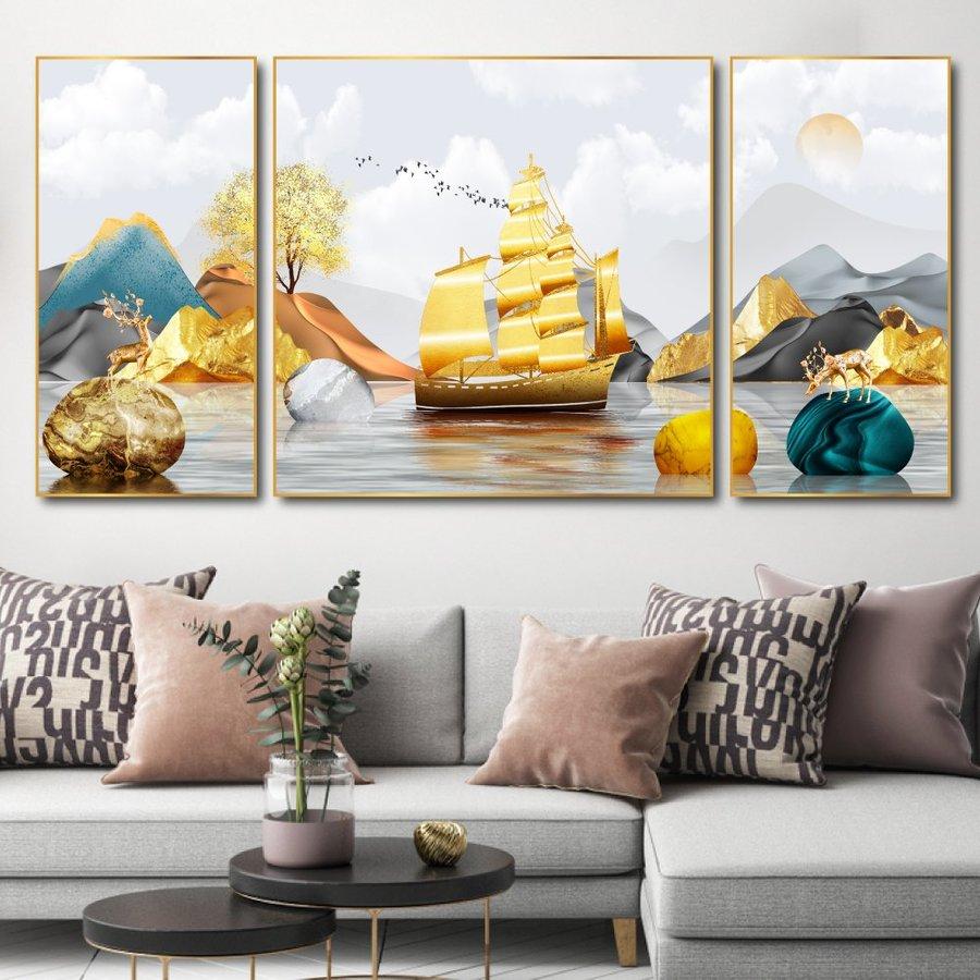 Tranh treo tường nai và thuyền vàng