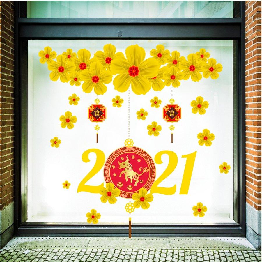 Decal trang trí tết mai vàng tài lộc 2021
