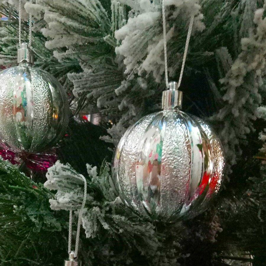 Set 6 quả châu sọc 4cm trang trí Noel