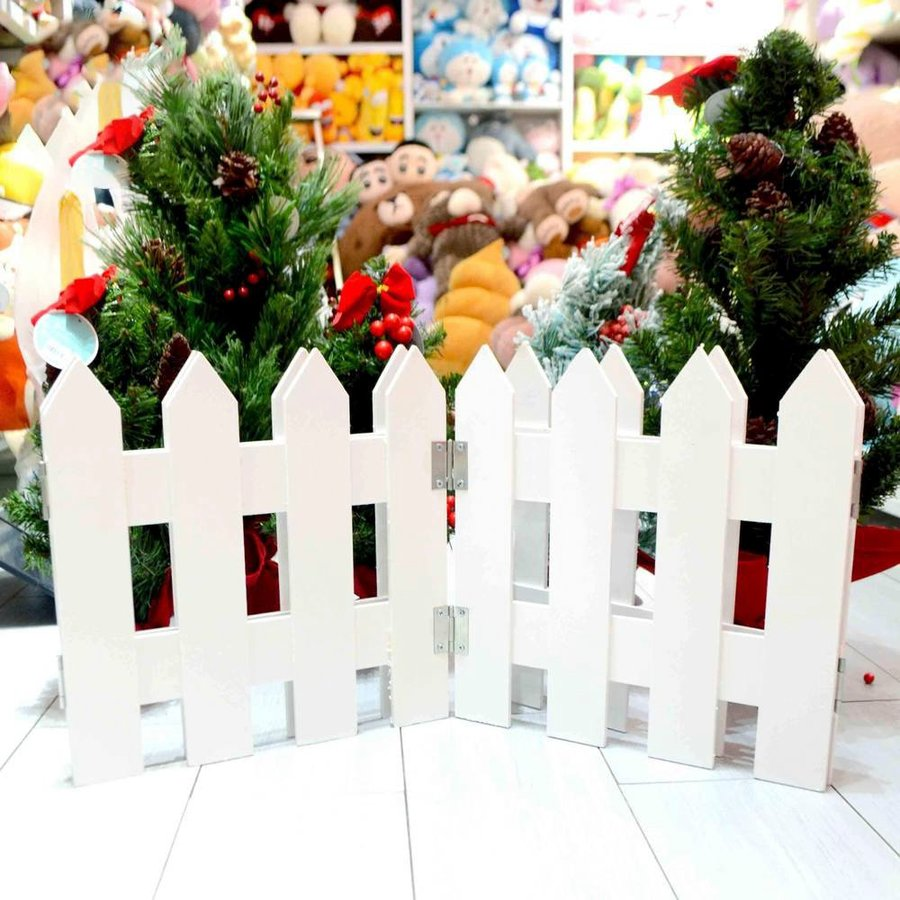 Đồ trang trí noel hàng rào trắng cao 30cm