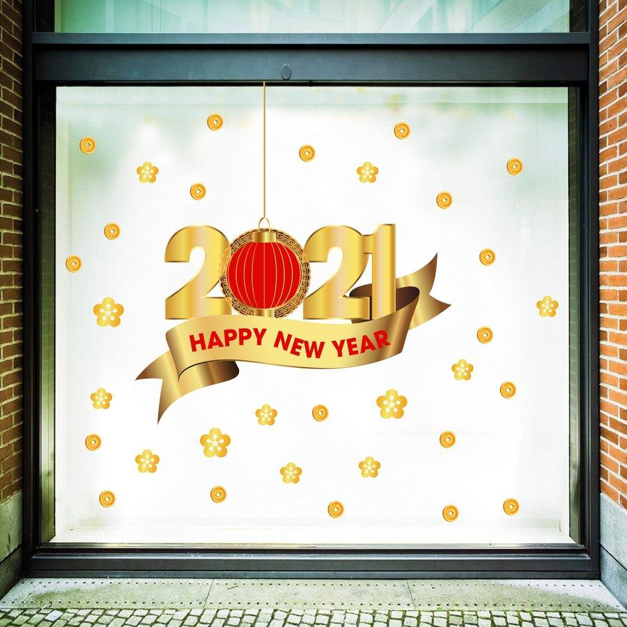 Decal trang trí tết happy new year 2021 mẫu 2