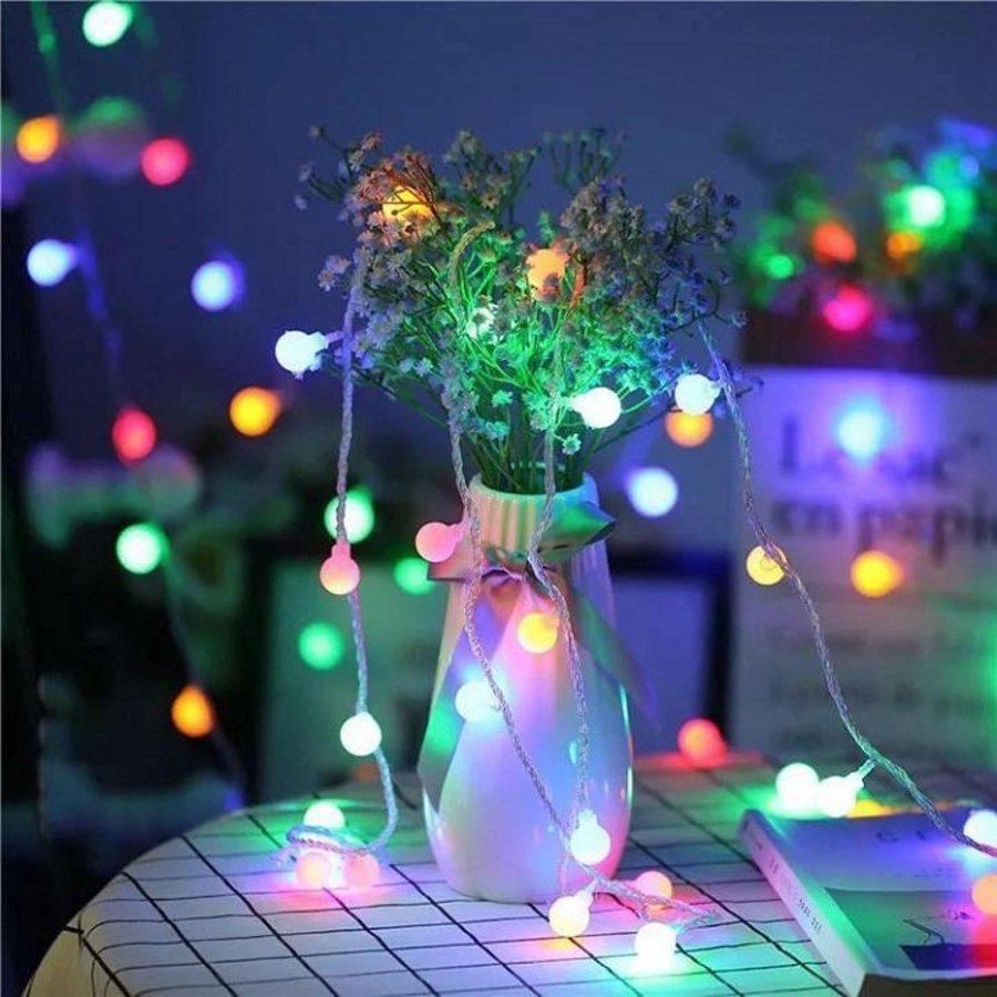 Dây đèn led trang trí bóng bi đục tròn nhiều màu 5m