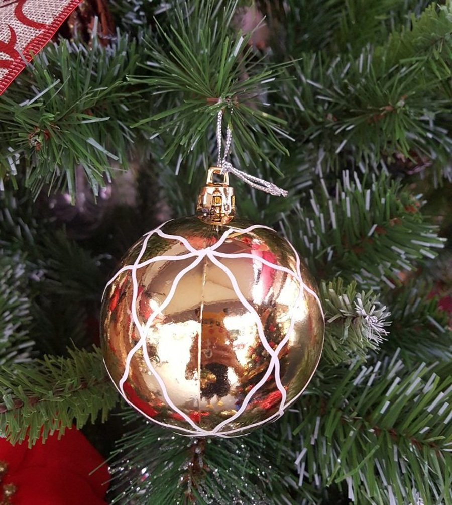 Đồ trang trí noel quả châu vàng họa tiết sọc