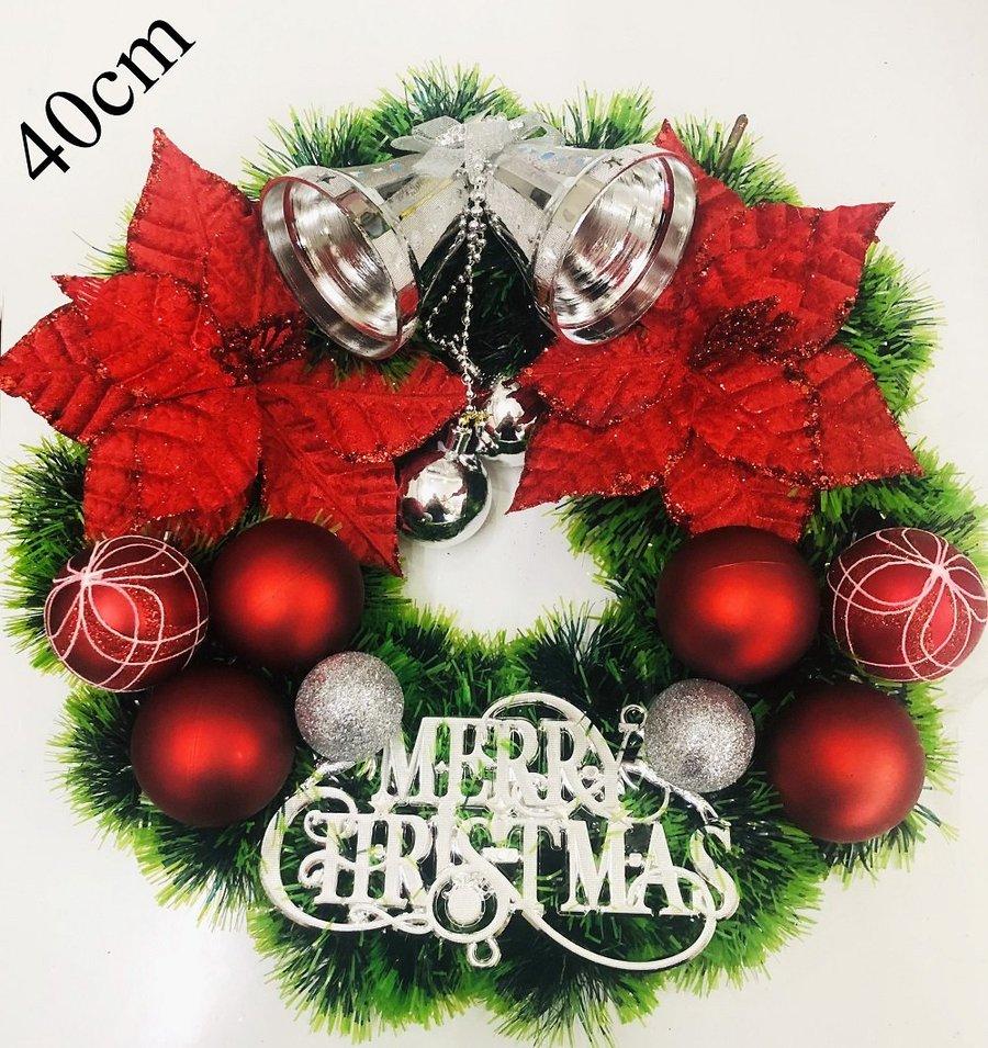 Vòng Nguyệt Quế Trang Trí Noel Chuông bạc và hoa đỏ