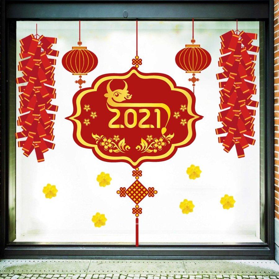 Decal trang trí tết mừng xuân Tân Sửu 2021 mẫu 2