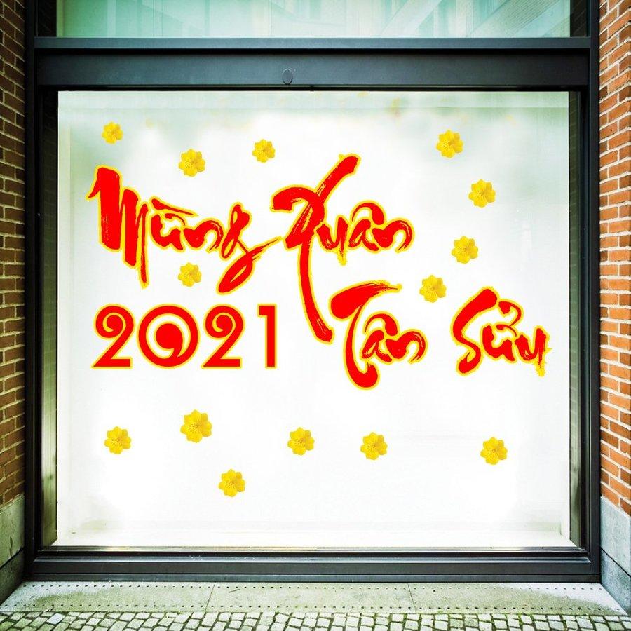 Decal trang trí tết mừng xuân Tân Sửu 2021
