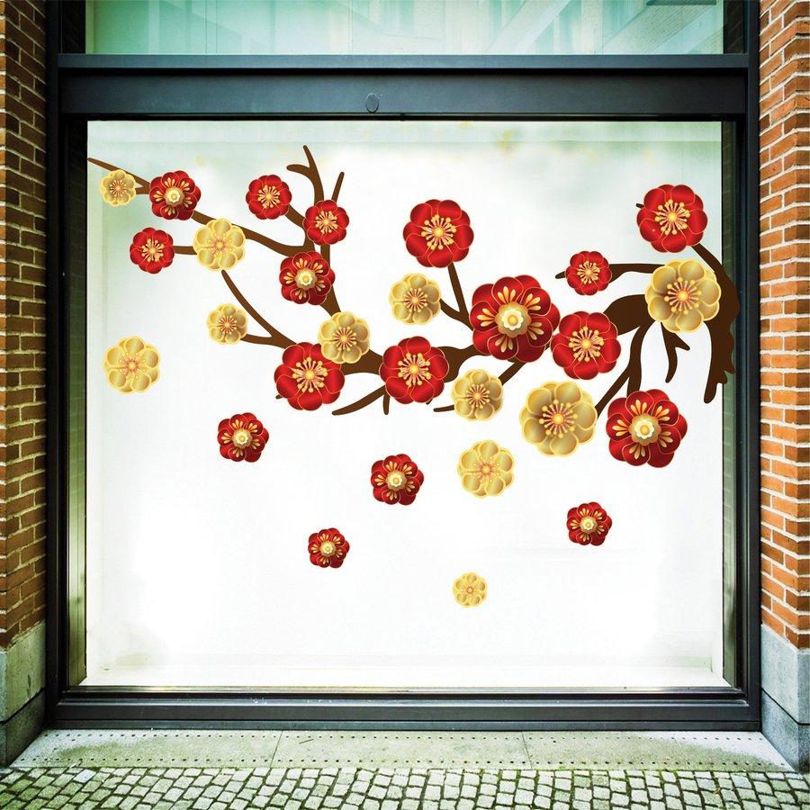 Decal trang trí tết hoa mai hoa đào 2021