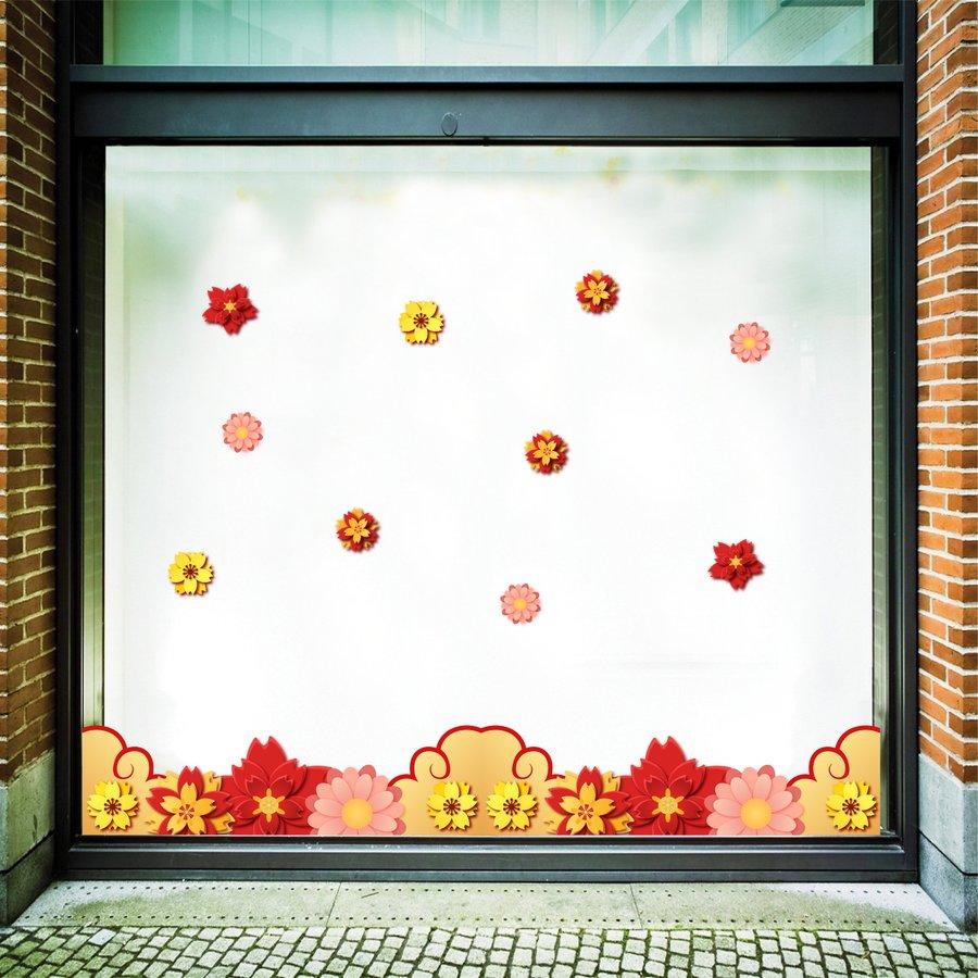 Decal trang trí tết họa tiết bông hoa