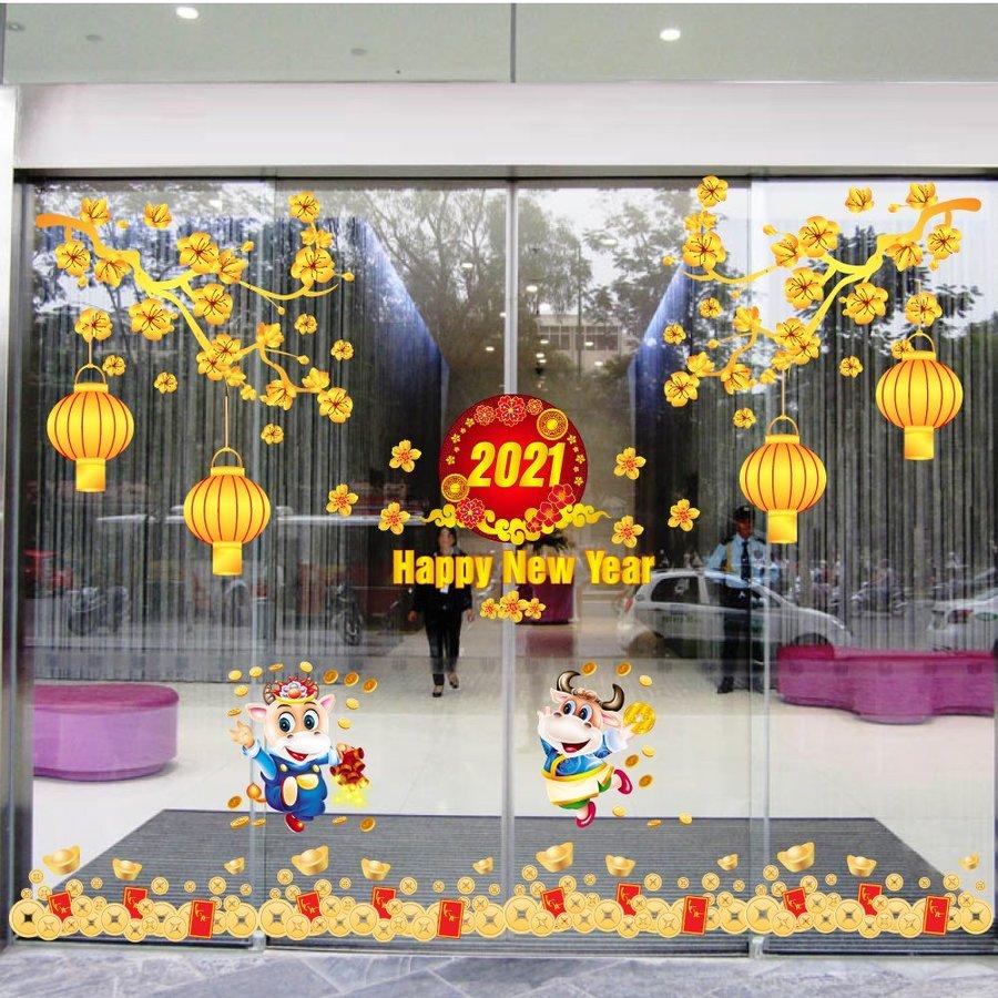 Combo Decal Trang Trí Tết Xuân Tân Sửu 2021 Mẫu 10