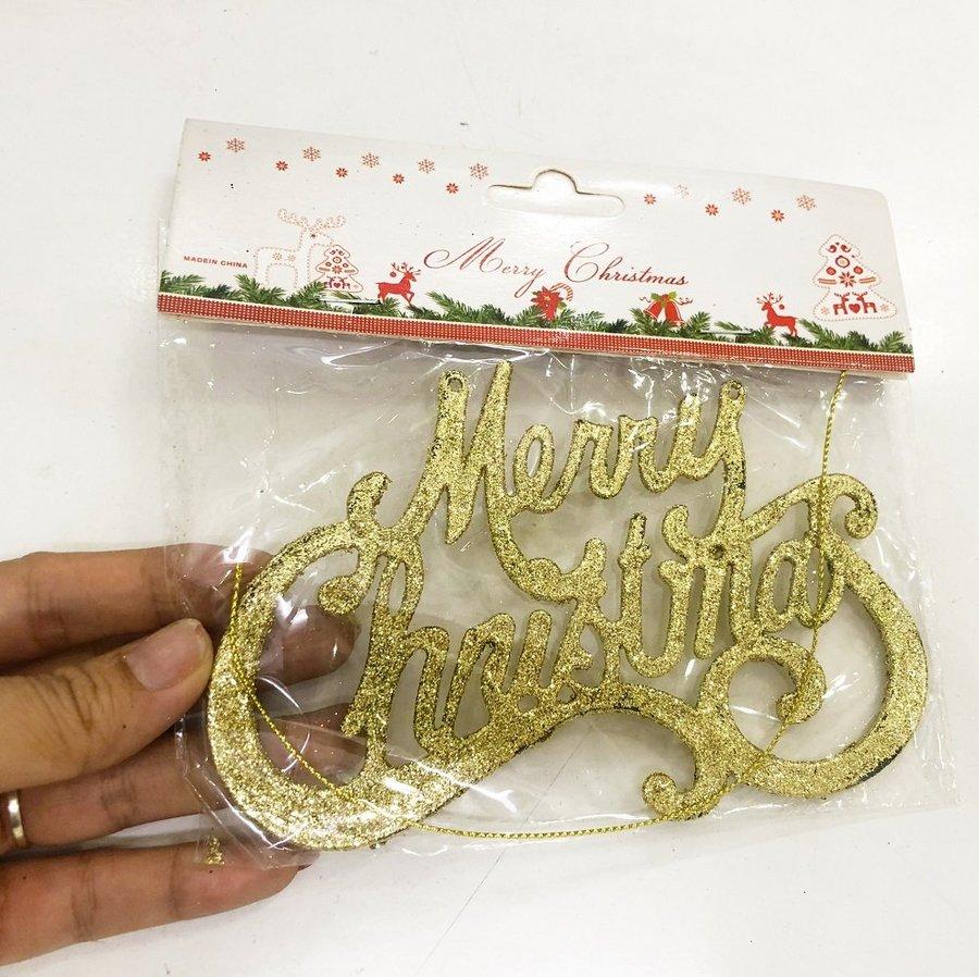 Bảng treo merry christmas phủ kim tuyến trang trí noel