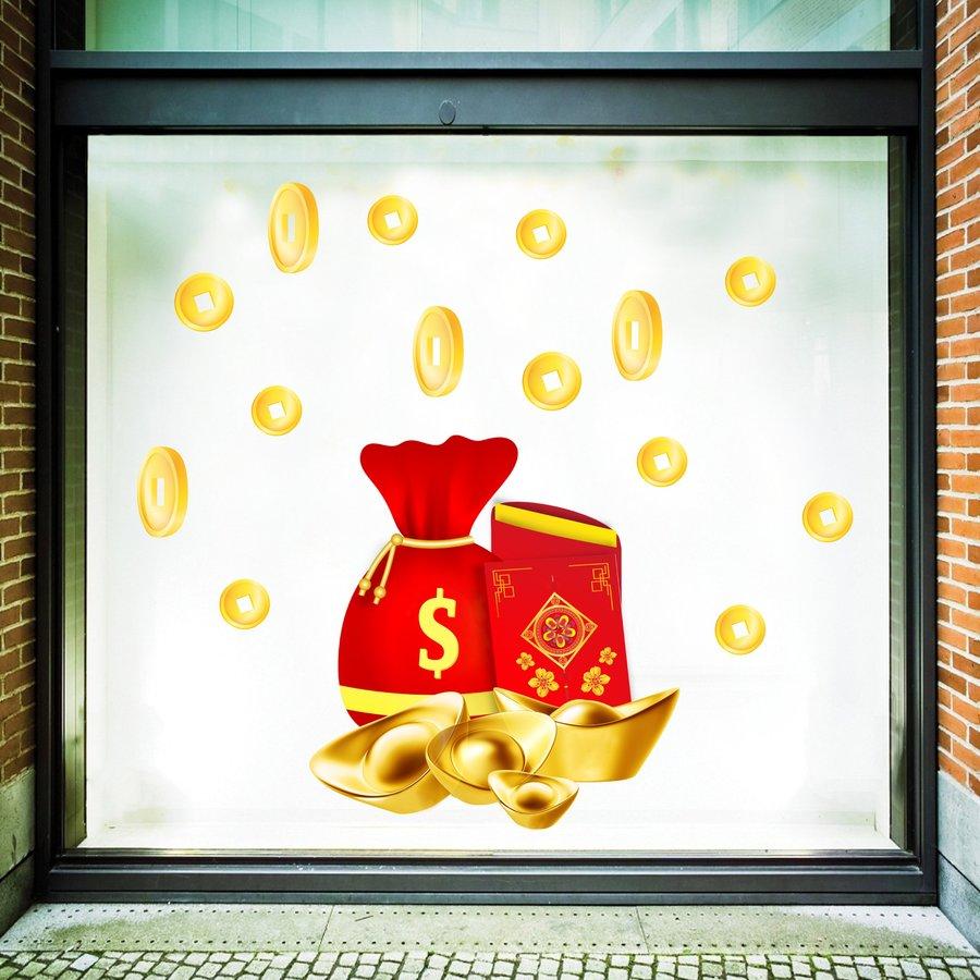 Decal trang trí tết túi vàng sung túc mẫu 2