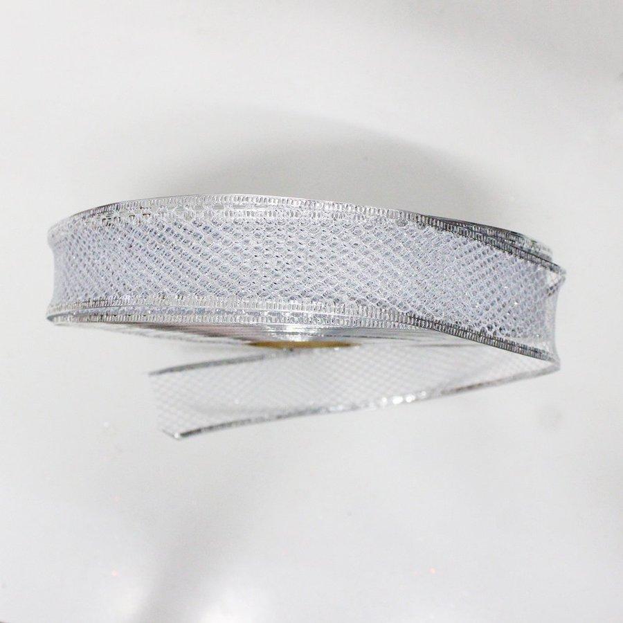 Cuộn dây ruy băng không họa tiết lưới bạc 10m