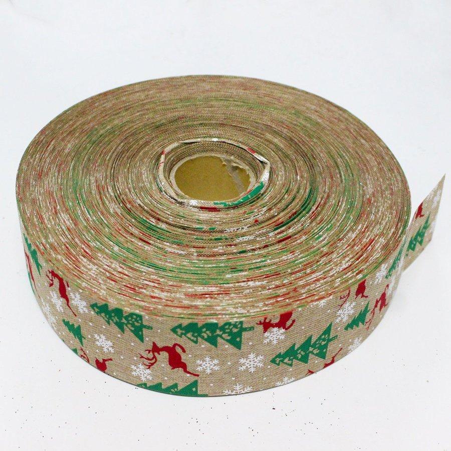 Cuộn ruy băng vải họa tiết tuần lộc và thông trang trí noel