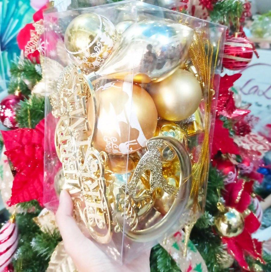 Hộp châu vàng nhiều loại trang trí noel