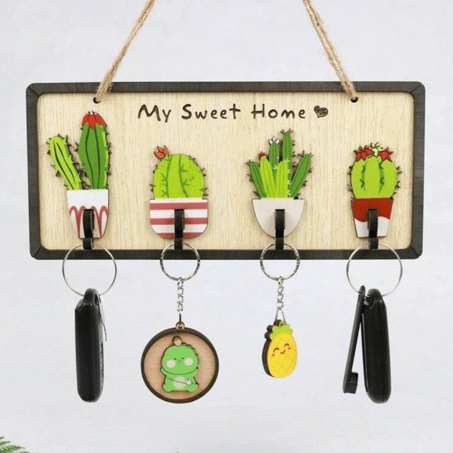 Bảng gỗ handmade trang trí Xương rồng my sweet home
